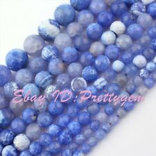 """6,8,10,12,14mm Round Faceted Cracked Blue Fire Agate Gemstone Beads Strand 15"""""""