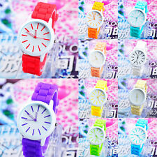 Women Quartz Jelly Silicone Analog Sports Wrist Watch Fashion Dress Watches G37