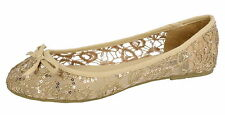Spot On Nude(Gold Lace) Dolly Shoes F80085