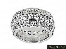 4.25Ct Princess Cut Diamond Wide 3Row Eternity Band Ring Solid 18k Gold G SI1
