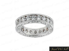 1.75Ct Round Diamond Antique Milgrain Eternity Band Wedding Ring Platinum F VS2