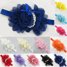 Baby Girls Large Ruffle Flower Lace Hairband Soft Elastic Headband Hair Band EW