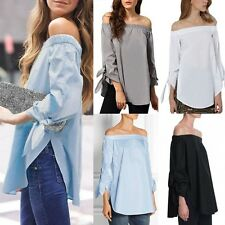 Sexy Ladies Off Shoulder Split Long Sleeve Oversized T Shirt Casual Tops Blouse