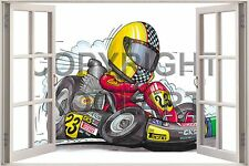 Huge 3D Koolart Window view Go Cart Go Cart (Eurostyle) Wall Sticker Poster 356