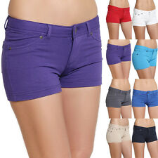 MOGAN Candy Colored Zipper Stretch SKINNY SHORTS French Terry Jean Hot Pants