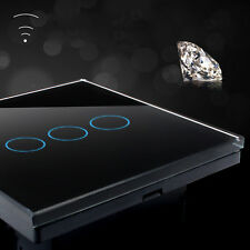 1 Way 1/2/3 Gang Crystal Glass Panel Touch Wall Switch With Remote Controller