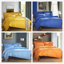 Luxury Solid/Striped Satin King Queen Full Size Bed Quilt/Duvet Cover Set Linen
