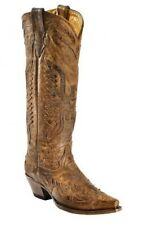 Corral Ladies Tall Cowboy Western Boots Vintage Brown Eagle Overlay R2295