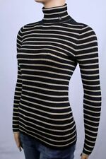 Ralph Lauren Black Gold Stripe Ribbed Turtleneck Sweater NWT