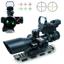 New Tactical 2.5-10X40 Rifle Scope w/Red Laser & Holographic Green Red Dot Sight