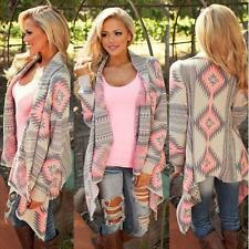 Women's Kimono Cardigan Coat Geometric Printed Long Sleeve Cotton Cover up Tops