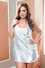 White Color Plus Women Sexy Lingerie Satin Sleepwear Chemise Babydoll Dress 7916