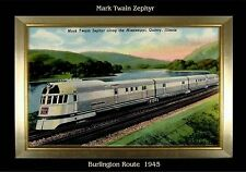MAGNET TRAIN Post Card Photo Magnet MARK TWAIN Zephyr 1945 Burlington Route