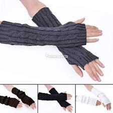 Black Long Knit Arm Leg Women Fingerless Gloves Warmer Mitten