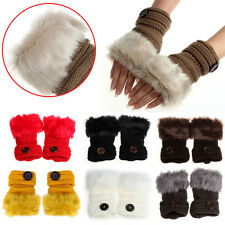 Women Warm Winter Personality Gloves Faux Rabbit Fur Wrist Fingerless Mitten Hot