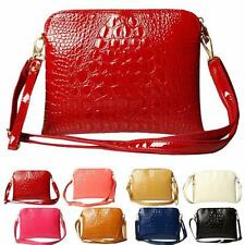 TOP Womens Crocodile PU Leather Handbag New Ladies Clutch Shoulder Messenger Bag