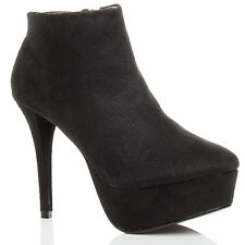 WOMENS LADIES HIGH HEEL PLATFORM ANKLE ZIP SHOE BOOTS BOOTIES