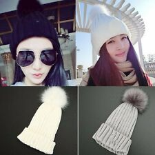 Winter Women Ladies Knit Beanie Ball Wool Cuff Hat Braided Crochet Warm Ski Cap