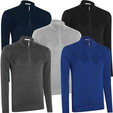 ASHWORTH CHEST DIAMOND TEXTURE THERMAL LINED WIND SWEATER GOLF PULLOVER