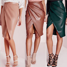 Sexy Womens Bodycon PU Leather Skirt Bandage High Waist Midi Pencil Party Skirts