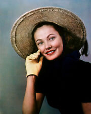 GENE TIERNEY YELLOW GLOVE STRAW HAT LOVELY PORTRAIT PHOTO OR POSTER