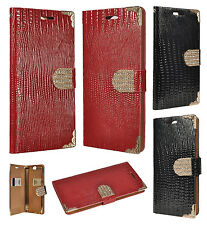 For HTC One A9 Leather Wallet Pouch Flip Cover Crocodile Skin Case +Screen Guard