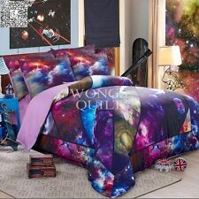 Galaxy Duvet Quilt Doona Cover Set Queen King Size Bed Pillowcases Purple New