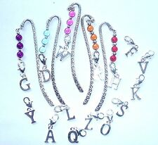 Alphabet Initials on Hand Beaded with Miracle Beads on Silver tone Bookmark