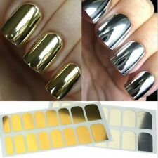 16Pcs Nail Foil Patch Gold Silver Tips Wrap Metallic Art Kit Adhesive Sticker