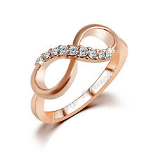Stylish Women Rose Gold Plated Inverted 8 Alloy Zircon Crystal Ring Size 6 7 8 9