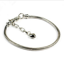 Silver Bracelets chain Screw bangle Fit European Charms Beads 18/19/20CM