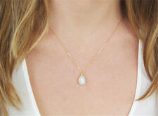 OPALITE MOONSTONE Gemstone Bead Water DROP SHAPED Charm PENDANT Chain NECKLACE