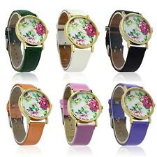 Women Fashion Leather Rose Flower vintage Quartz  Gift Watches WristWatch