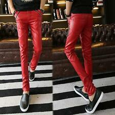 Korean Men's/Boy's Slim fit Pencil Pants Casual pu leather Skinny Trousers new