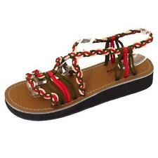 LADIES RED LOW WEDGE GLADIATOR STRAPPY SUMMER SANDALS FLIP-FLOP SHOES SIZES 3-8