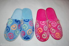Womens Slippers 2 PR LOT Soft Terry Slides HOUSE SHOES Pink BLUE Swirls  S M L