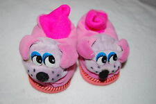Toddler Girls PLUSH ANIMAL SLIPPERS Purple Dog Face HOT PINK TOP Puppy 6 7 8