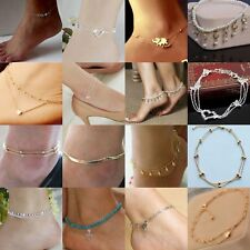 Gold Elegant Double Chain Heart Bead Anklet Ankle Bracelet Beach Foot Jewelry