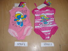 New Girls The Smurfs Swim Suit Swimming Costume  Pink Ages 3 4 5 6 7 8 9 10