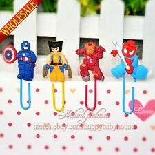 100PCS Super Heroes PVC Bookmarks,Paper Clips School Supplies Stationery Gifts