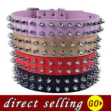 Spiked Dog Collar For Pitbulls Adjustable RED PINK BLACK GOLD Pu Leather Large