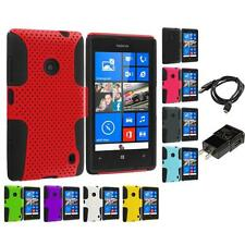 For Nokia Lumia 520 Hybrid Mesh Hard/Soft Silicone Color Case Charger