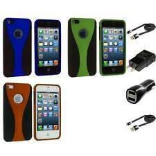 Color Black 3-Piece Rubberized Hard Snap-On Case for iPhone 5 5G 5S 2X Chargers