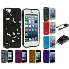 TPU 3D Color Butterfly Flower Rubber Skin Case for iPhone 5 5G 5S Accessories