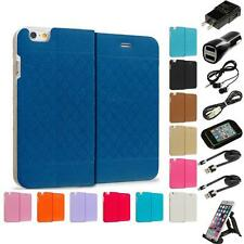 For Apple iPhone 6 4.7 Slim Wallet Plaid Hard Flip Color Case Cover Accessories