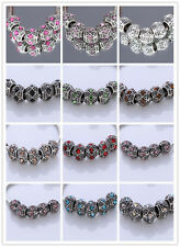 5pcs CRYSTAL Retro silver SPACER BEADS FIT European Beads Charm Bracelet 11Color