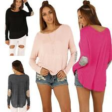 Loose Sequins Splice Long Sleeve T-shirt Womens Irregular Blouse Tops Tee Q9MZ