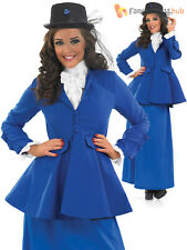Adults Mary Poppins Fancy Dress Costume Ladies Victorian Lady Outfit UK 8-30