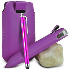 PURPLE PULL TAB LEATHER POUCH CASE COVER W/ BIG STYLUS PEN FOR VARIOUS PHONES