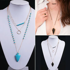 Retro Womens Fashion Boho Multilayer Beads Ring Arrow Pendant Necklace Chain
